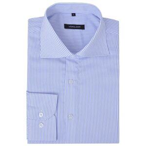 vidaXL Zakelijk overhemd heren wit en lichtblauw gestreept maat S
