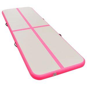 vidaXL Gymnastiekmat met pomp opblaasbaar 800x100x10 cm PVC roze