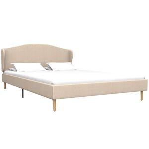 vidaXL Bed met traagschuim matras stof beige 140x200 cm
