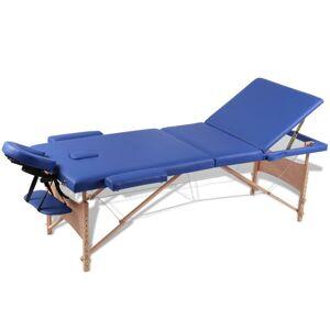 vidaXL Inklapbare massagetafel 3 zones met houten frame (blauw)
