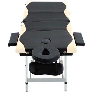 vidaXL Massagetafel inklapbaar 4 zones aluminium zwart en beige