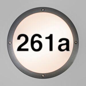 QAZQA Applique d'extérieur anthracite avec numéro de maison IP54 - Glow