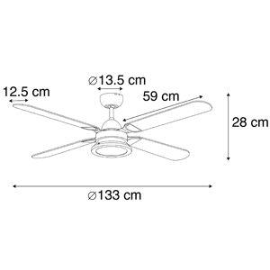 QAZQA Ventilateur de plafond noir avec télécommande - Fanattic