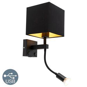 QAZQA Applique moderne noire avec USB et abat-jour carré noir - Brescia Combi