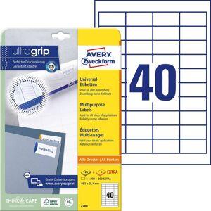Avery-Zweckform 4780 Etiketten 48.5 x 25.4 mm Papier Wit 1200 stuk(s) Permanent Universele etiketten Inkt, Laser, Kopie 30 vel DIN A4