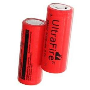 Panasonic UltraFire 2x 26650 batterij (5000 mAh, Oplaadbaar)