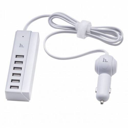 Hoco USB Autolader met 6 poorten Wit