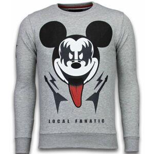 Local Fanatic Kiss my mickey rhinestone sweater  - Grijs - Size: Large