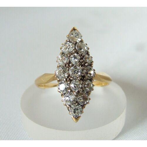 Christian Antieke gouden ring met briljanten  - Geel Goud - Size: One Size