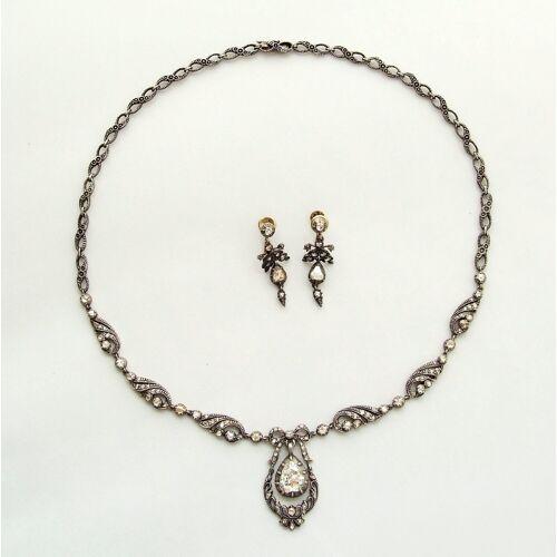 Christian Antieke roosdiamanten set  - Geel Goud - Size: One Size