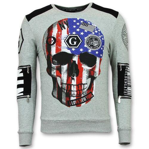 Enos Trui met doodskop sweaters goedkoop  - Grijs - Size: Large