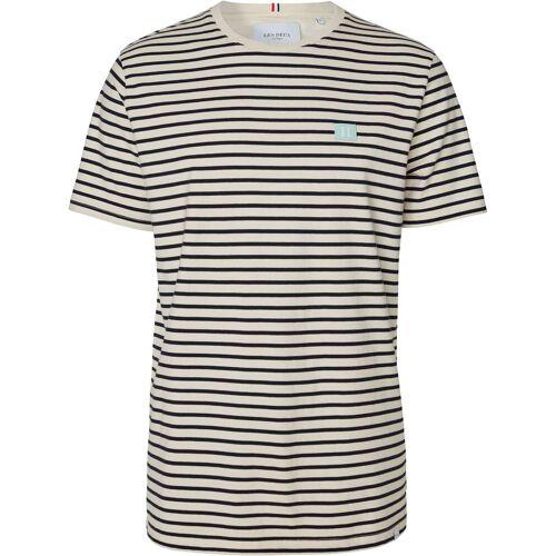 Les Deux Sailor stripe patch tee stripe ecru blue  - Wit - Size: Small