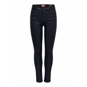 Only Hush mid skinny black coated pants  - Zwart - Size: Large