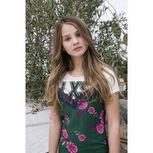 Looxs Revolution Jurk met bloemen voor meisjes in de kleur  - Groen - Size: 164