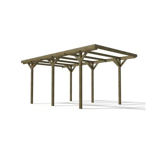 EXPERTLAND Carport ZEPHYR van behandelde houtklasse III - Oppervlakte 15.5 m²