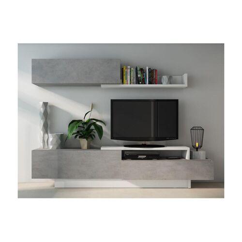 Unique Tv-wand MONTY met opbergruimte - Beton en wit