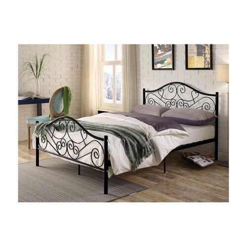 Unique Bed LEYNA - 140 x 190 cm - Metaal - Zwart