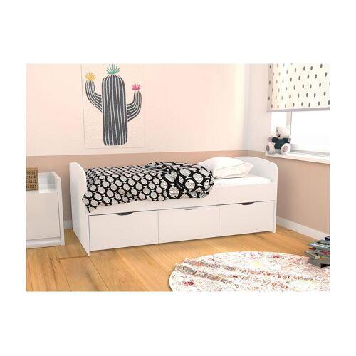 Unique Bed LOUANE met 2 lades en 1 opbergruimte - 90 x 190 cm - Wit