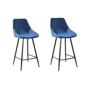 Unique Set van 2 barkrukken MASURIE - Fluweel - Nachtblauw