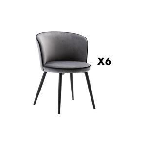 Unique Set van 6 stoelen MILANO - Fluweel & Staal - Grijs