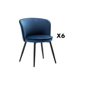 Unique Set van 6 stoelen MILANO - Fluweel & Staal - Nachtblauw