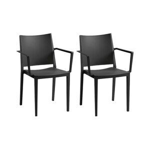 Unique Set van 2 opstapelbare stoelen TOXA met armleuning - Polypropyleen - Zwart