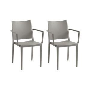 Unique Set van 2 opstapelbare stoelen TOXA met armleuning - Polypropyleen - Grijs