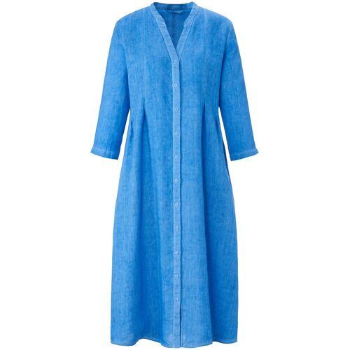 elemente clemente Dames Jurk 100% linnen V-hals Van elemente clemente blauw