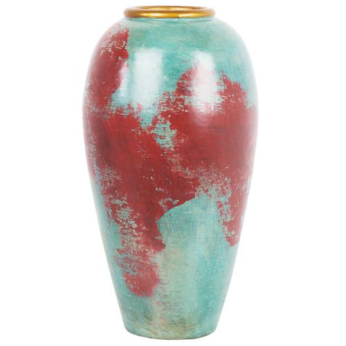 Beliani Decoratieve vaas rood/mintgroen CARTEIA