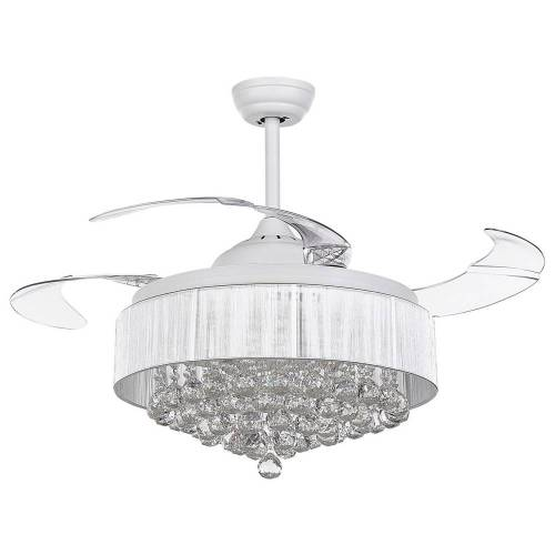 Beliani Plafondventilator met lamp wit PEEL