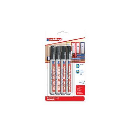 Edding Viltstift Edding 3000 Rond Zwart 1.5-3mm Blister à 4st