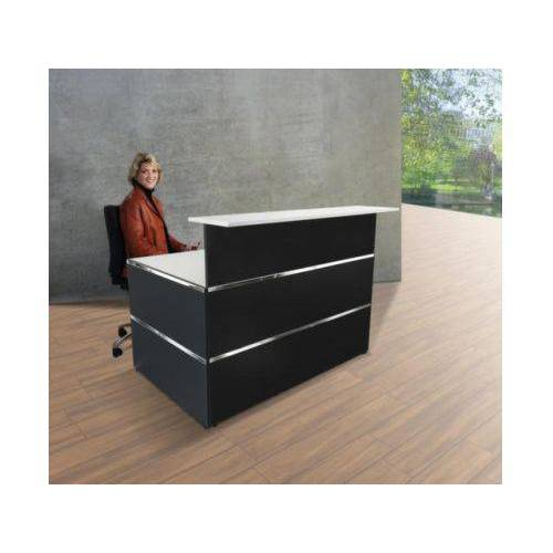 DiscountOffice Balie Compleet 1350x 1015mm Recht Front Antraciet Bladen Wit