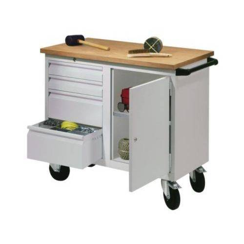 DiscountOffice Werkplaatswagen 400kg Staalplaat 915x1090x600mm 1 Kast 4 Laden