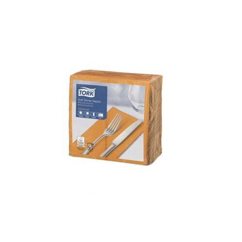 Tork Soft Dinnerservet 39x39cm 3-laags Oranje, 1/8 Vouw Ds 1200 Stk