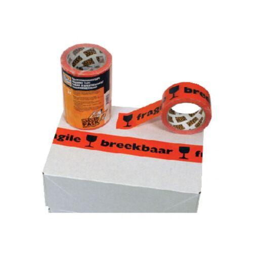 Cleverpack Verpakkingstape CleverPack Breekbaar 50mmx66m PP Oranje/zwart