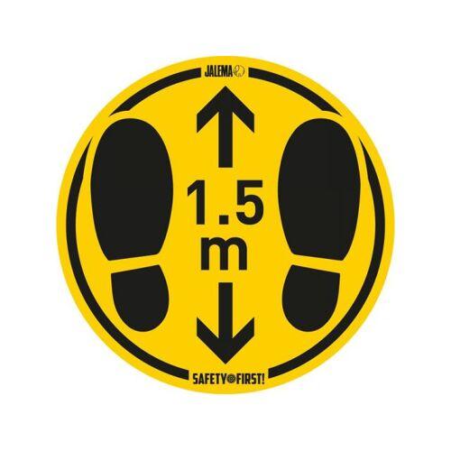 Jalema Vloersticker Houd Afstand Geel/zwart Ø350mm Voor Ruwe Vloeren