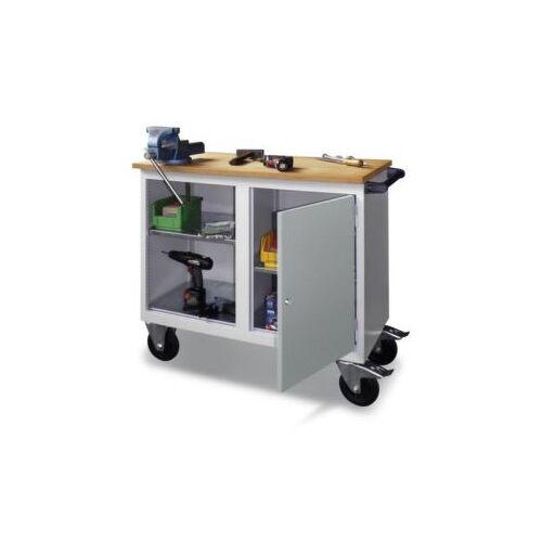 DiscountOffice Werkplaatswagen 400kg Staalplaat 915x1090x600mm 1 Open Vak 1 Kast