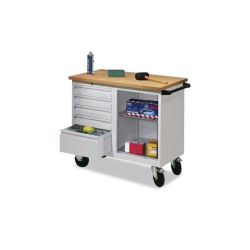 DiscountOffice Werkplaatswagen 400kg Staalplaat 915x1090x600mm 1 Open Vak