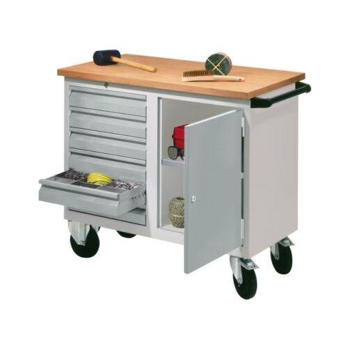 DiscountOffice Werkplaatswagen 400kg Staalplaat 915x1090x600mm 1 Kast 6laden