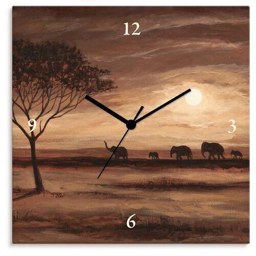 Artland wandklok Afrikaans bruin landschap olifanten  - 53.99 - bruin