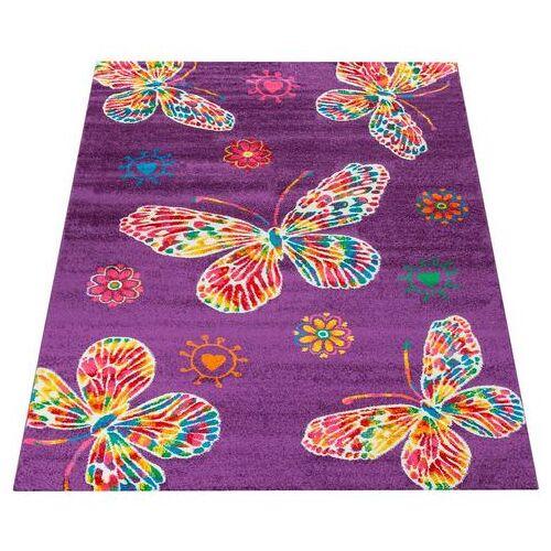 Paco Home vloerkleed voor de kinderkamer Luna 975 Kinderen design met kleurrijke vlinders, kinderkamer  - 157.99 - paars