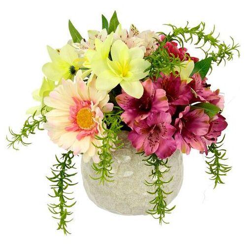 I.GE.A. kunstbloem Arrangement bloemen Pot van keramiek (1 stuk)  - 23.99 - roze