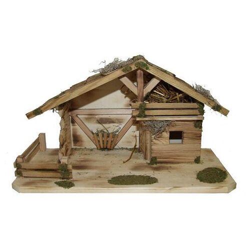 Alfred Kolbe kribbe Kerststal met massief houten vloer, gevlamd echt hout (1-delig)  - 89.99 - bruin