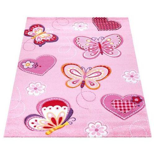 Paco Home vloerkleed voor de kinderkamer Diamond 642 Korte pool, 3D-kinderen vlinder harten design, kinderkamer  - 64.99 - roze