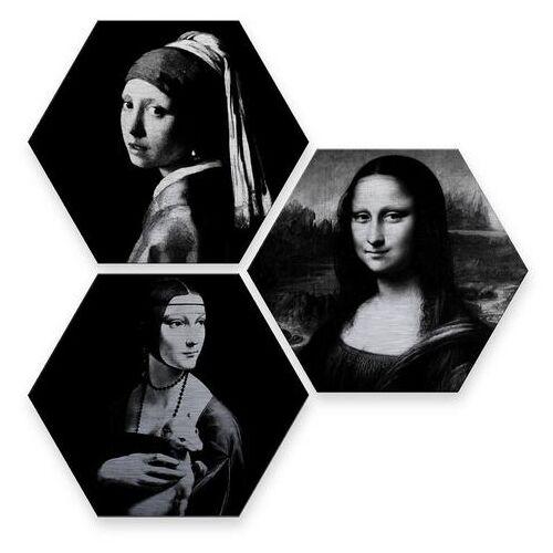 ART Wall-Art Meerdelige artprint Beroemde vrouwen kunstgeschiedenis (set, 3 stuks)  - 56.99 - zwart