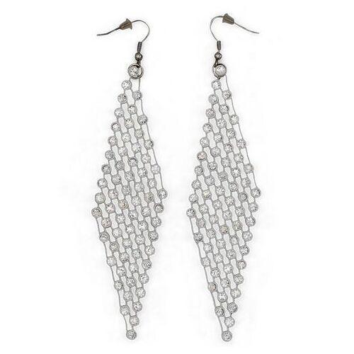 J.Jayz oorhangers Extra lang, glamoureus met glassteentjes  - 12.98 - zilver