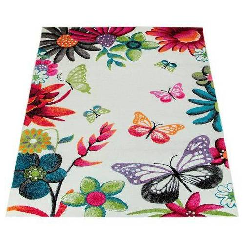 Paco Home vloerkleed voor de kinderkamer ECE 954 Korte pool, met bloemen en vlinderdesign, kinderkamer  - 137.99 - beige