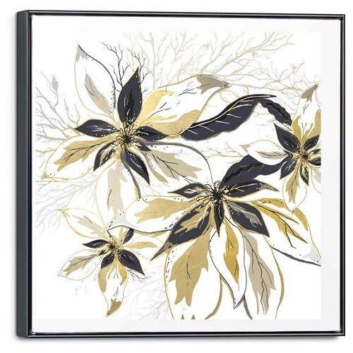 Reinders! artprint op linnen gouden bloemen - glamoureus - stijlvol (1 stuk)  - 62.99 - goud