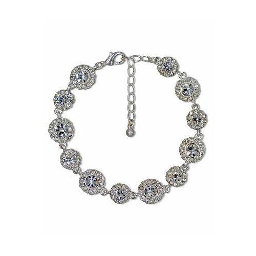 J.Jayz armband Glinsterend bloemenelement, glamoureus met kristal- en glassteentjes  - 23.99 - zilver
