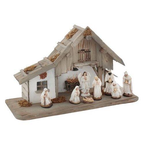 my home kribbe van hout met led-lantaarn, inclusief kerstfiguren (set, 9 delig)  - 99.99 - beige